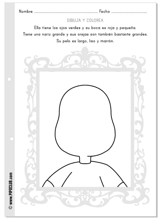 Descripciones: dibuja la cara según indica el texto. Would be great to use this as self-portraits as well and have children practice describing themselves!