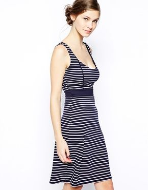 French Connection Suki Dress in Stripe with Flared Hem