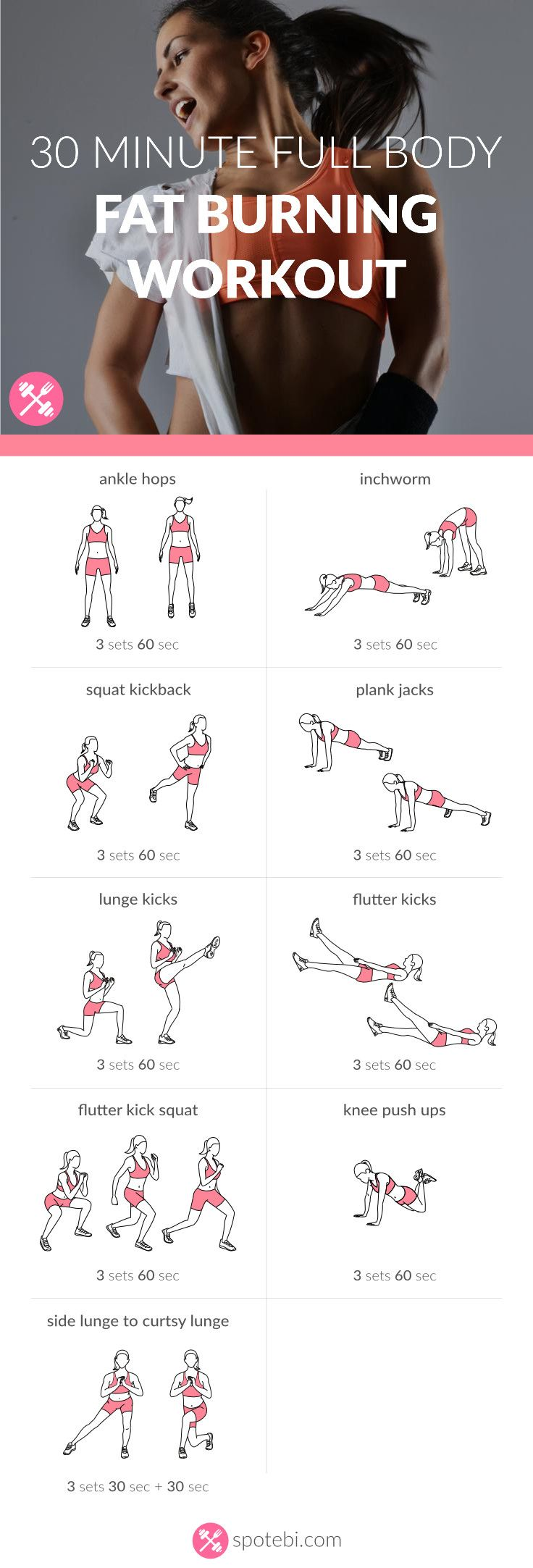 Burn extra calories with this 30 minute full body fat burning workout routine. A set of aerobic exercises to strengthen your heart and tighten your body. http://www.spotebi.com/workout-routines/30-minute-full-body-fat-burning-workout/