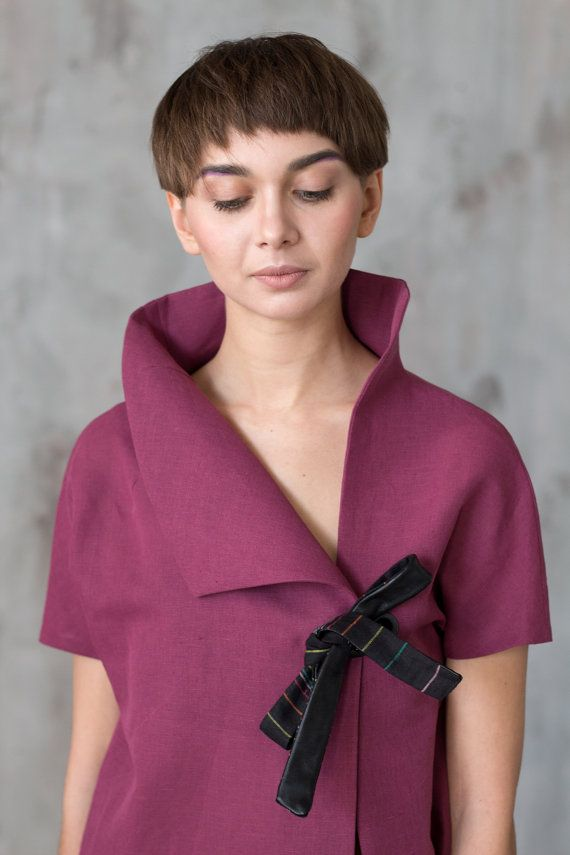 Purple linen blouse / Asymmetrical jacket / by ExlibrisClothing