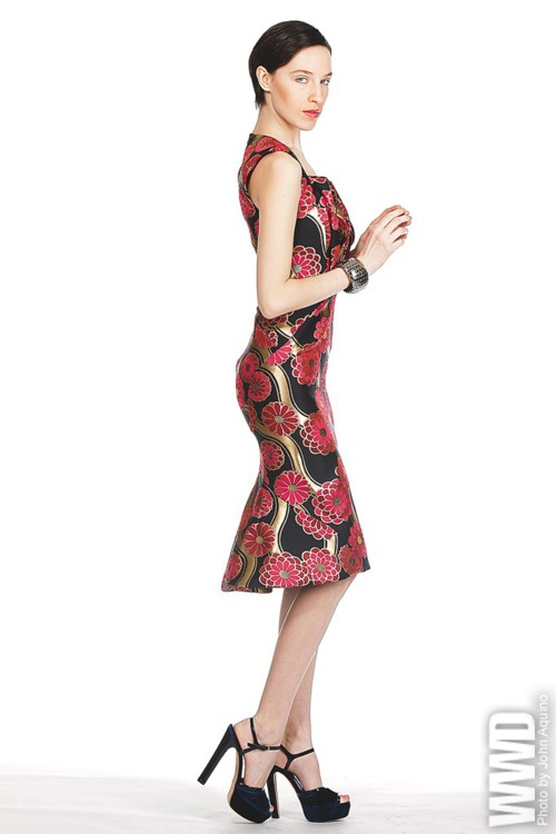 Zac Posen's silk cocktail dress. Ona Chan cuff.