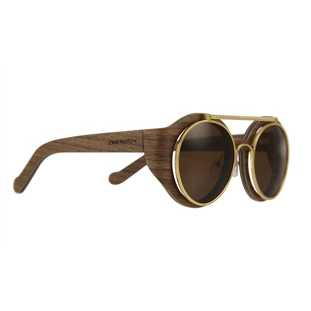 louis vuitton handcrafted wood frame sunglasses with gold rimmed brown lenses