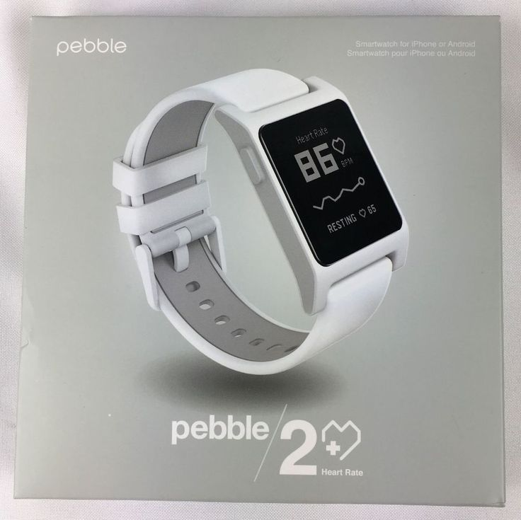 New Pebble 2 HR Heart Rate Smart Watch for Android iPhone IOS White 1002-00066 #Pebble