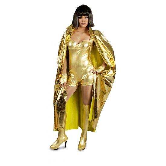 Gouden cape met hoge kraag. De cape is 135 cm lang. Gemaakt van 100 procent polyester.