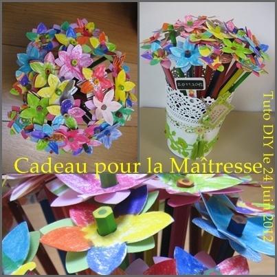 teacher's gift - cadeau maitresse : fleurs en crayon de couleur + fleurs papier, plantées ds boule de mousse
