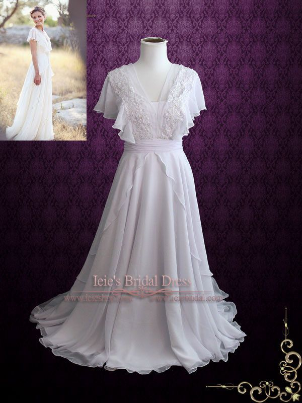 wedding dress hire cape town northern suburbs%0A Beach Whimsical Grecian Chiffon Wedding Dress with Butterfly Sleeves   Katie