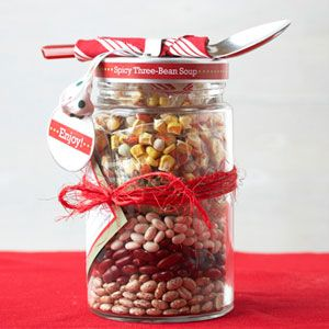 Gift idea: makings for spicy three bean soup in jar