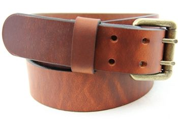 Made in USA Hot Dipped Tan Harness Leather Belt Double hole with an Old Brass Finish Roller Buckle