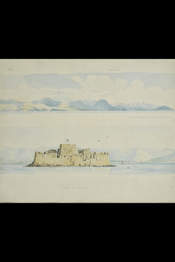 #Bourtzi in #Nafplion as depicted in a painting by Karl Krazeisen. The islet in the middle of the port of Nafplion (Peloponnese, Central #Greece), was fortified by the Venetians aroun the end of the 15th century. It was used as a fortress and a prison by both the #Venetians and the #Ottomans. Eventually, the Greeks transformed it into a hotel during the '30s . Declared as #archaeological site, it now occasionally hosts festivals in accordance to its character.