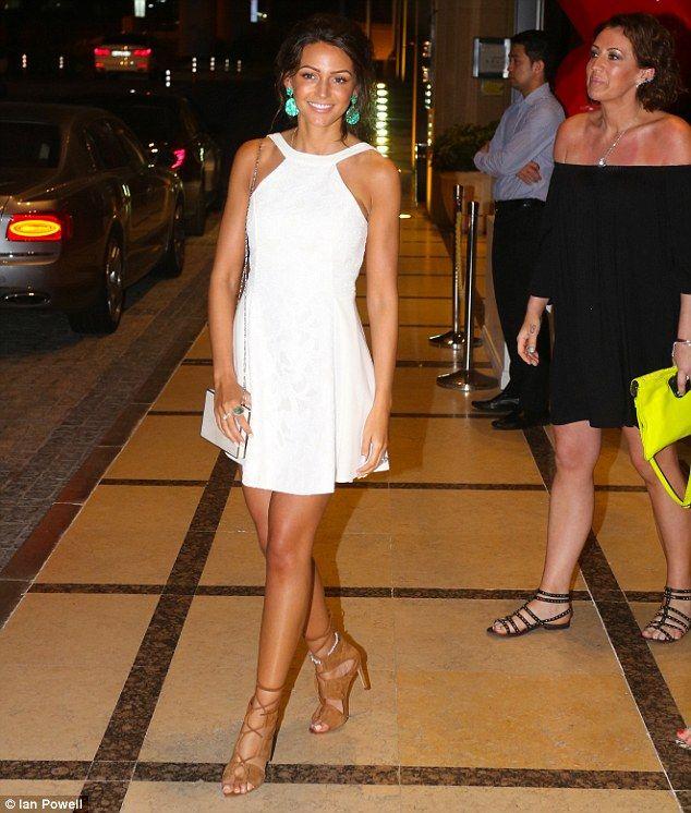 Michelle keegan wears bridal inspired white dress for hen for Michelle keegan wedding dress