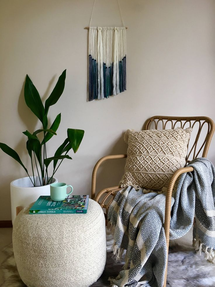 MOODY BLUE Tapestry Fibre Wall Hanging Art by WallflowersHanging on Etsy
