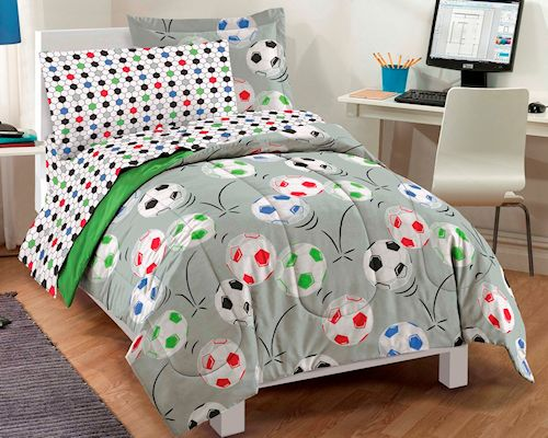 Soccer Ball Bedding Twin Full Comforter Set Bed In A Bag