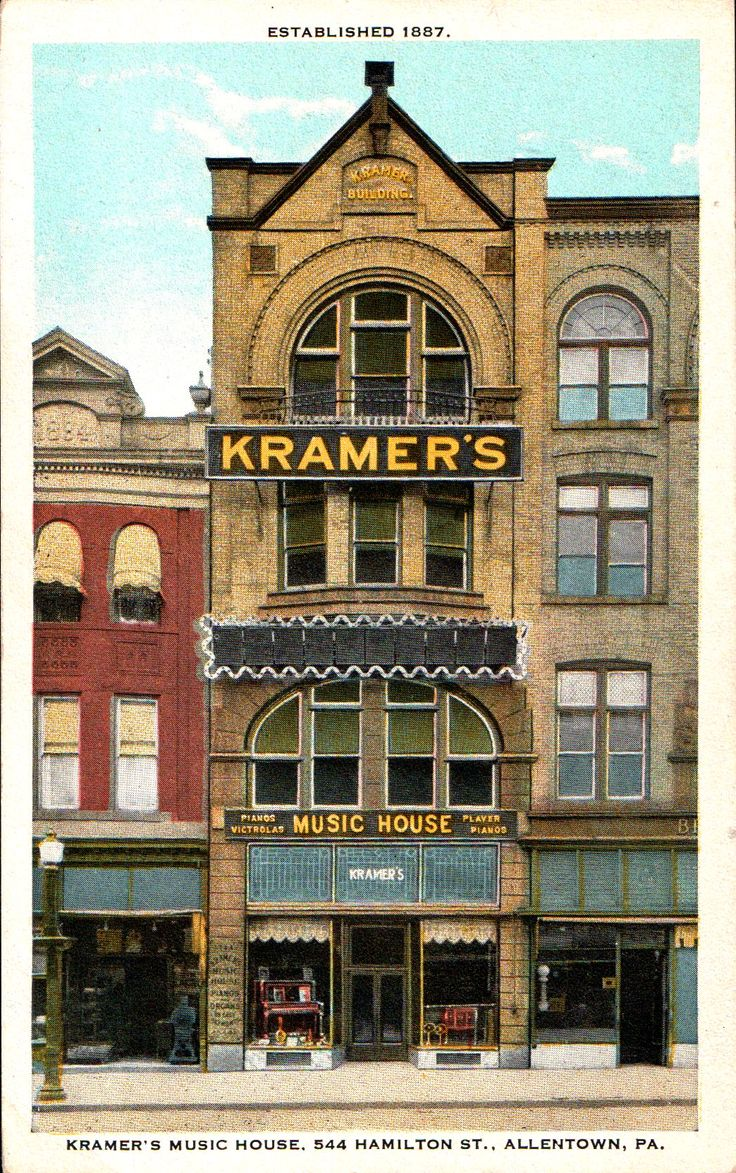 A circa 1920 postcard view of Kramer's Music House at 544 Hamilton Street, Allentown, Pa. Built in the 1880's, and originally called the Weightman Building, for over half a century it would be the home of Fred Kramer's music store where you could buy instruments, sheet music, Victrolas, music boxes and pianos, among other things. In later years it was the home of the Empire Beauty School.