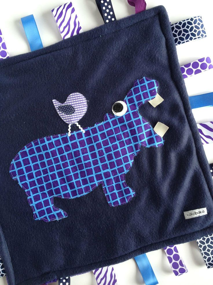 Minky Fleece Tag Blanket Hippopotamus, Hippo and Bird in Navy Blue and Purple