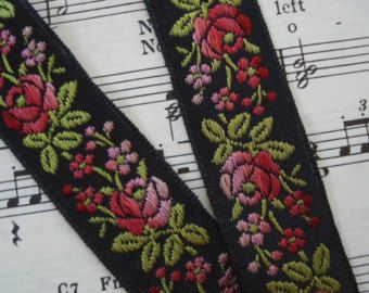 Vintage French Silk Jacquard Ombre Pink Black Floral Embroidered Ribbon