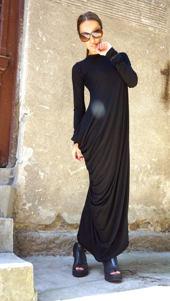 NEW Collection SS/15 Black Extravarant Maxi Dress / Viscose  Maxi Tunic / Extra Long Sleeves Asymmetric Black Dress by AAKASHA A03257