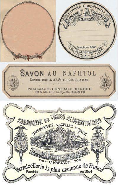Pretty French Vintage Labels, Free Printable