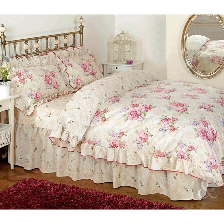 Vintage Floral Rüschen Bettwäsche Creme Beige Rosa Bettwäsche Set Kissenbezug, Parent, Pink, Cremefarben, Beige, Baumwollmischung, Pink Cream Beige, Double Duvet Cover ( shabby chic )