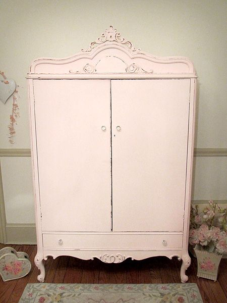 Gorgeous Pink Antique Armoire