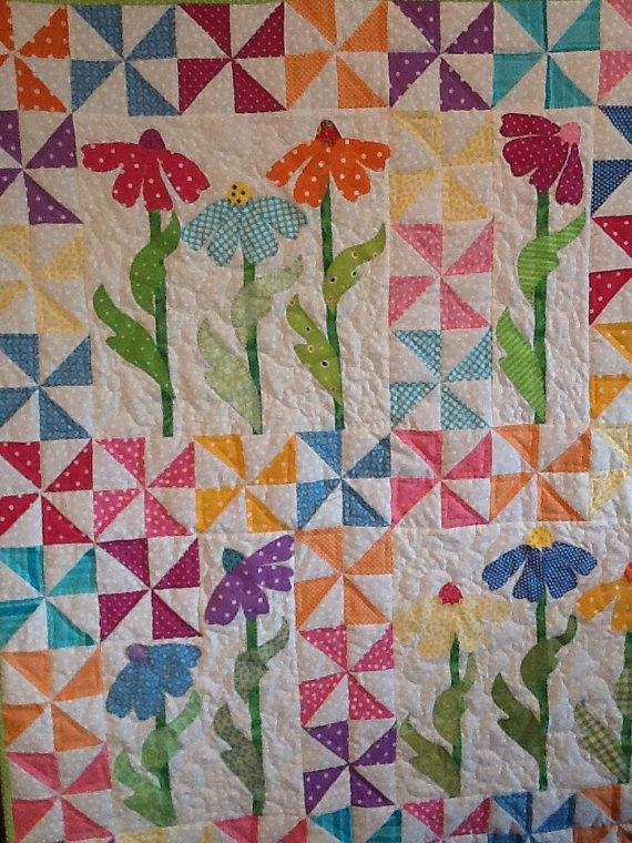 Handmade Baby Girl Quilt Pinwheels Appliqued by QuiltedGrandmother
