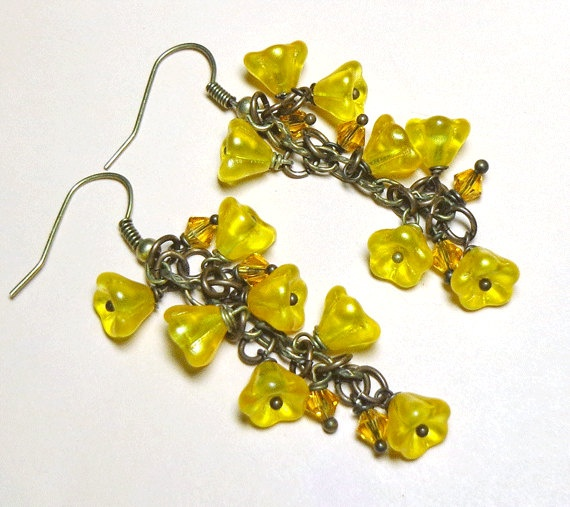 Jewelry Earrings Yellow Satin Buttercup Czech by SpiritCatDesigns, $10.00