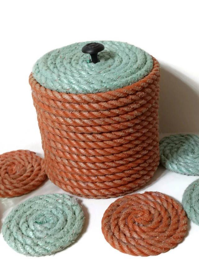 Nautical Decor Barware Ice Bucket and Coasters made with Reclaimed Lobster Trap Rope