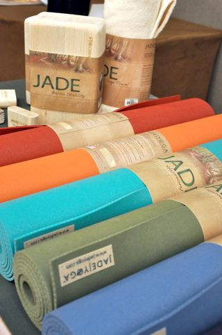 Jade Yoga mat.  Eco-friendly natural rubber mats.  No slipping and sliding in hot yoga classes either!