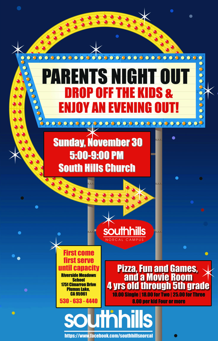 Parents Night Out Colourful Flyer Poster School Fundraisers Pta Fundraising Parent Night