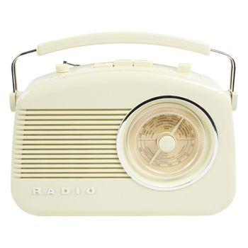 Radio AM/FM de diseño retro color marfil - HAV-TR700BE  Radio de diseño retro en color marfil. Tiene una rueda para sintonizar las emisoras con las frecuencias de grandes ciudades marcadas sobre ella. Puede elegir entre el modo AM o FM. Incorpora botones para el control de volumen y de tono. El botón de control de tono le permite ajustar la nitidez del sonido.