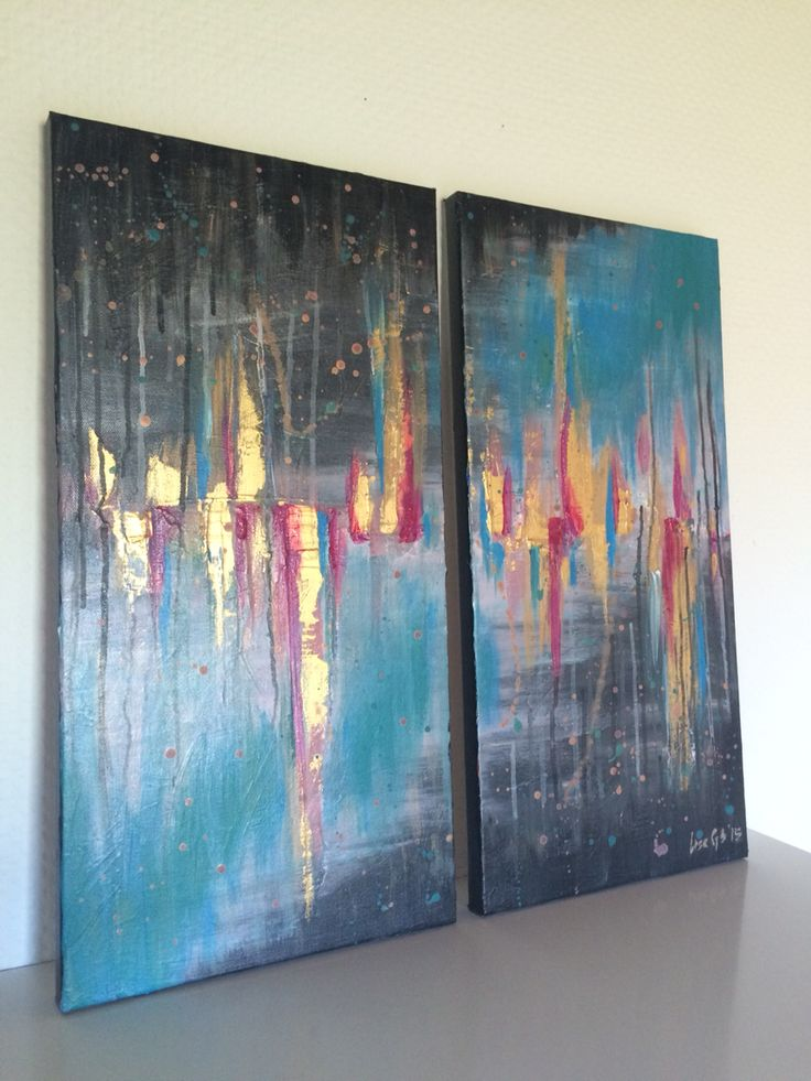 Abstract Painting - Black, Blue, Pink, Gold. Acrylic on canvas