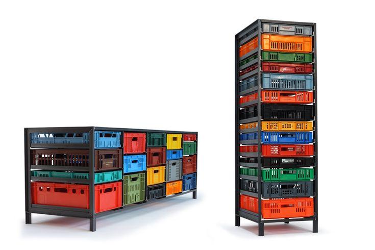 "Fantastic. Mark van der Gronden's Krattenkast (""crate cabinet"") storage units"