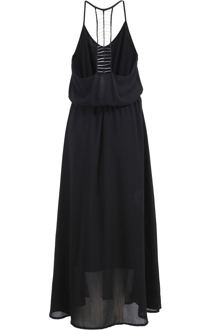 Чёрное шифоновое макси платье на бретельках