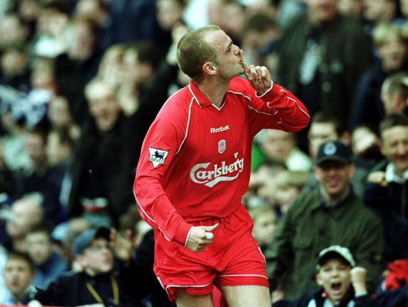 Danny Murphy of Liverpool celebrates after scoring the first goal during the Tranmere Rovers v Liverpool AXA FA Cup Sixth round match at Prenton Park...