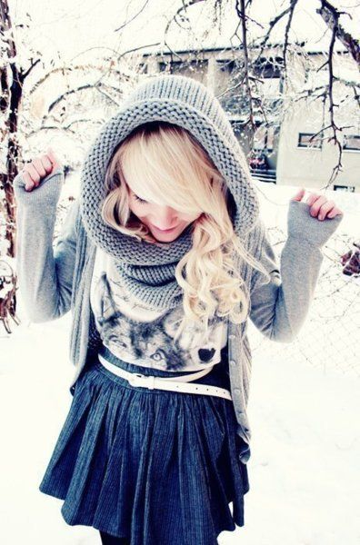.: Head Scarfs, Skirts, Winter Style, Winter Looks, Cute Winter Outfits, Blond, Scarves, Winter Fashion, Hair