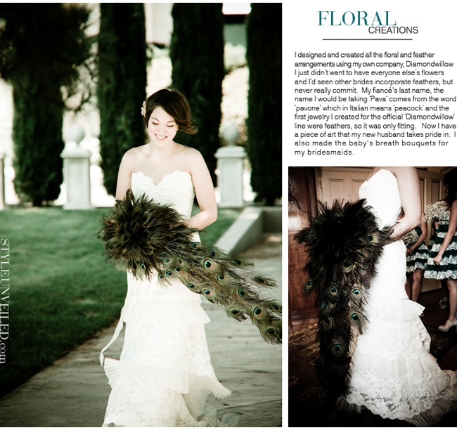 Peacock Feathers Cascade Bridal Bouquet! ♥