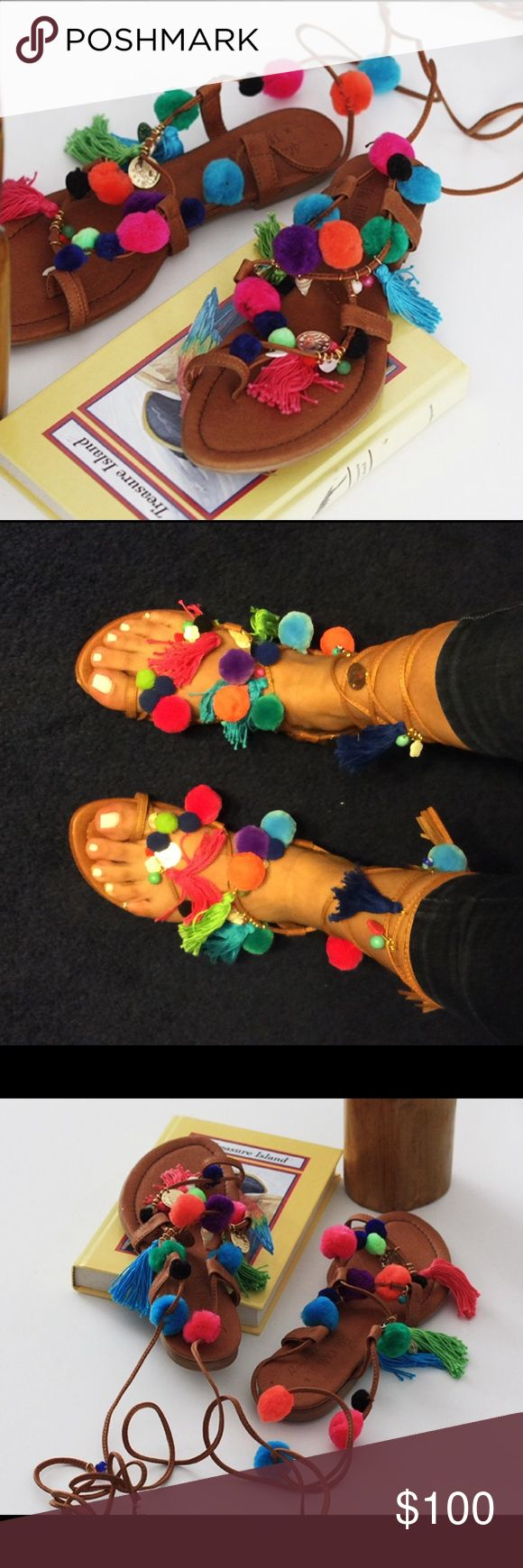 Alameda Turquesa- Real Leather Pom-Pom Sandals Never worn BRAND NEW Alameda Turquesa from Europe size 39 Alameda Turquesa  Shoes Sandals