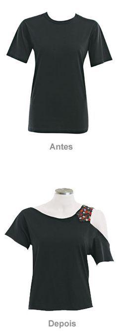 Dê um toque irreverente às camisetas pretas com botões coloridos - Moda, Beleza, Estilo, Customizaçao e Receitas - Manequim - Editora Abril