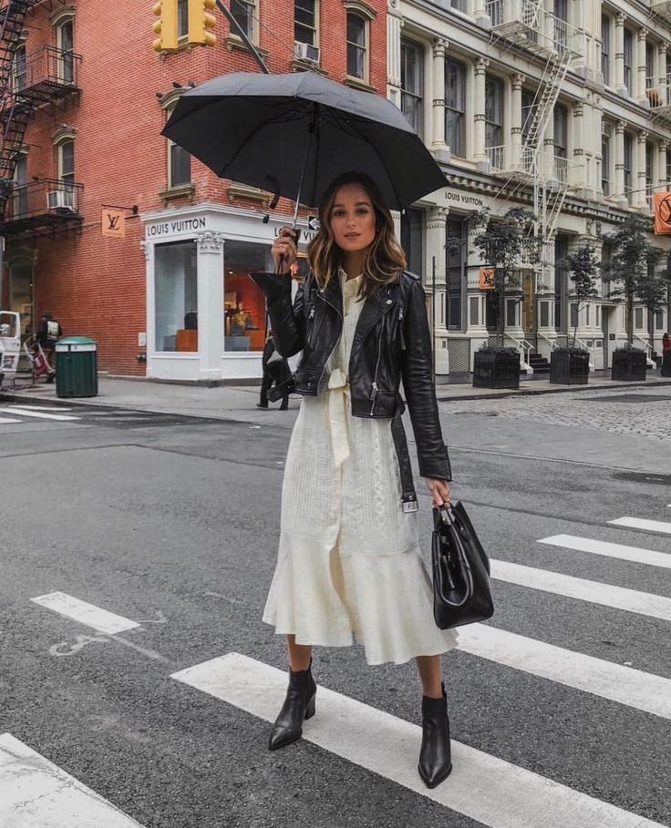| Look with a mix of textures and style - Leather Jacket + Fluid Fabric Midi Dress |