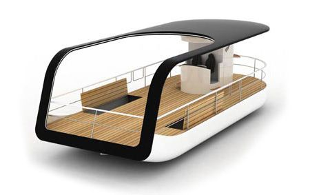 The new touring boat designed for touring the waters of Ljunljanica River in Slovenia