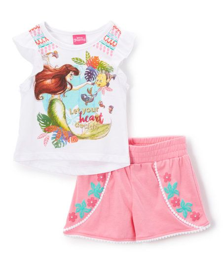Childrens Apparel Network White Disney Princess Ariel Tunic & Shorts - Toddler & Girls | zulily