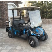 This is an example of some of the unique vinyl skins available for golf carts.