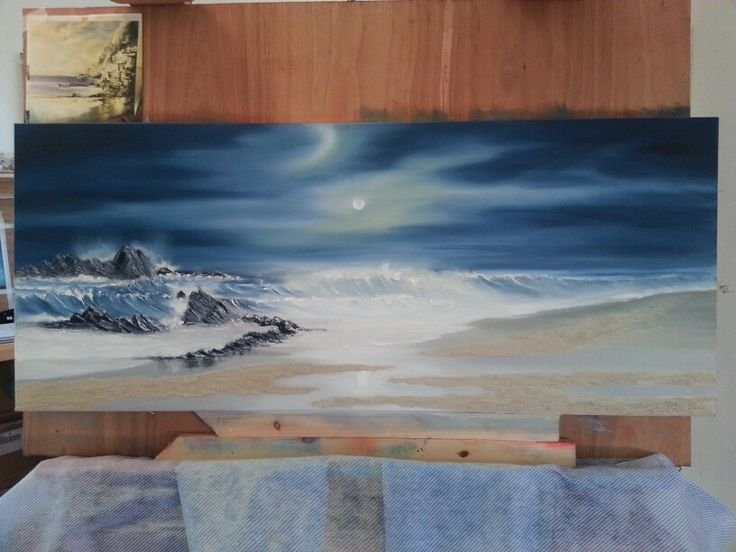 """Moonlight seascape. Inspired by artist  Philip Gray and his new techniques. See his new collection .... """"Sands""""."""