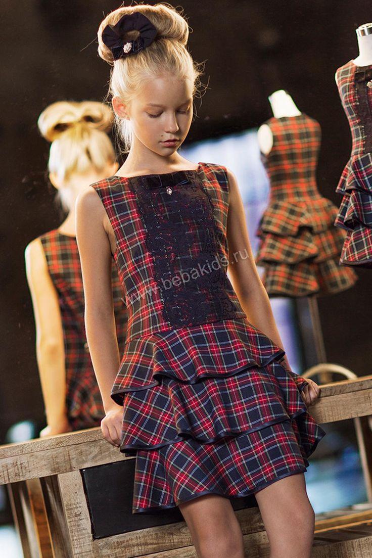 """Платье """"Шотландка юбка воланы"""" для девочки 29526-224 разноцветный Noble People"""