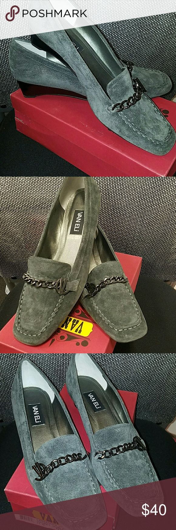 Vaneli Wedge loafers Beautiful grey suede loafers with chain accent. 1 inch wedge heel. Vaneli Shoes Flats & Loafers