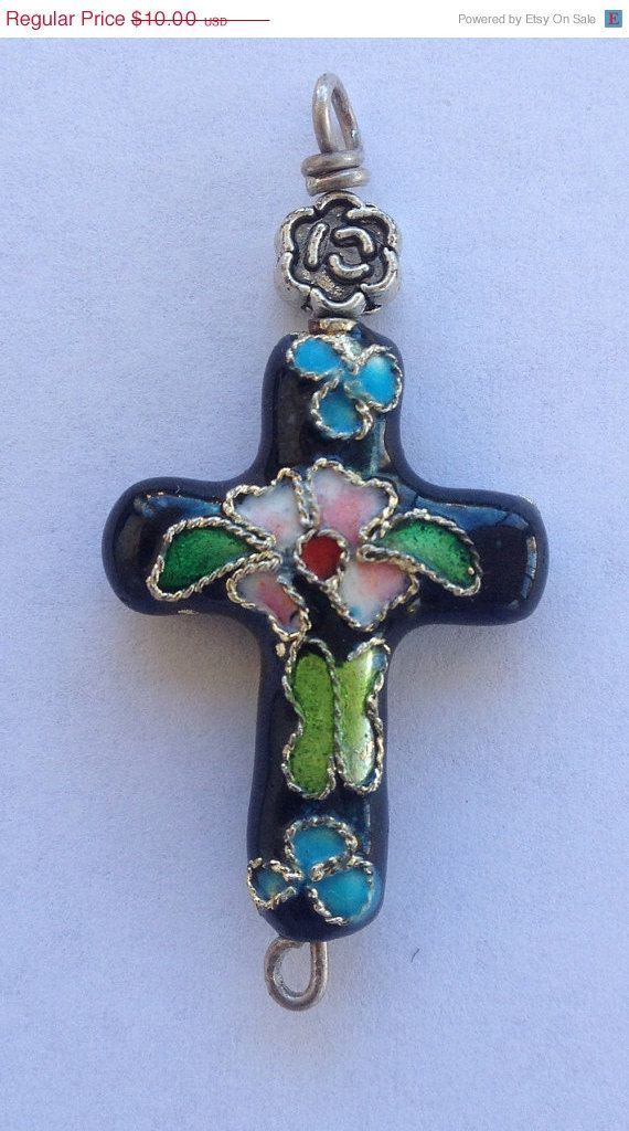 Cross Pendant, Cloisonne with bead accent, Hand made