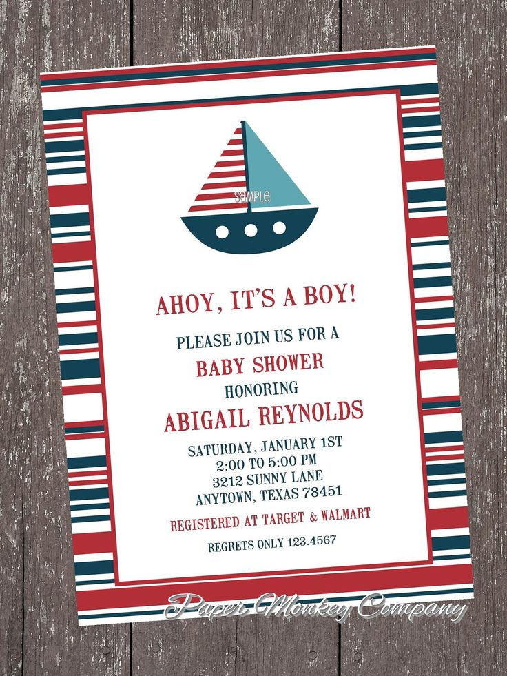 Nautical Sailboat Baby Shower Invitations by PMCInvitations on Etsy https://www.etsy.com/listing/118373998/nautical-sailboat-baby-shower