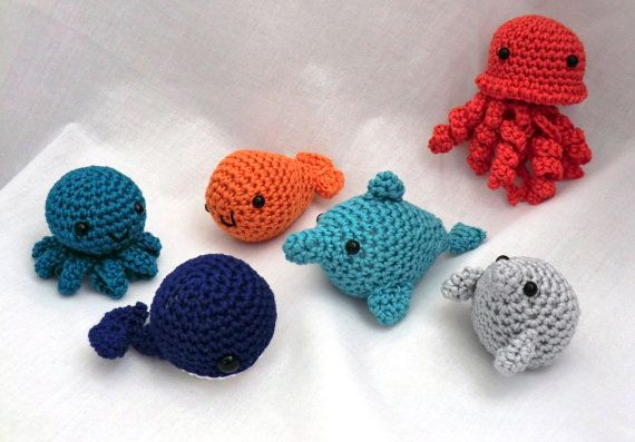 Mini amigurumi water babies PDF crochet pattern dolphin, fish, jellyfish, octopuss, seal and whale on Etsy, $12.63