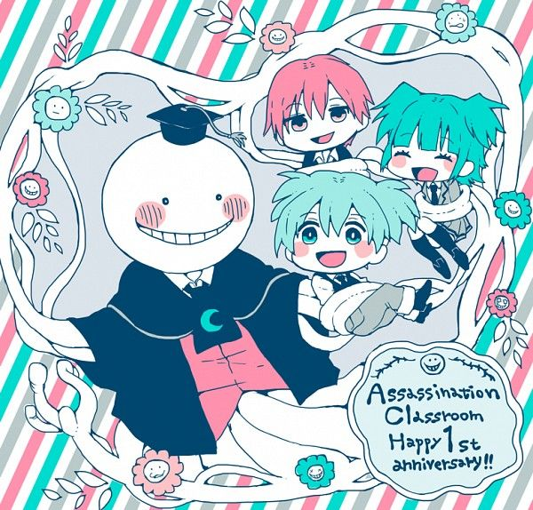 Tags: Anime, Tentacles, Vest, Striped Background, Assassination Classroom, Koro-sensei, Shiota Nagisa