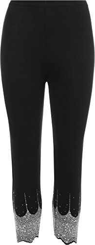 WearAll Women's Gold and Silver Stretch Sequin Leggings Ladies - Black Silver - US 20-22 (UK 24-26). Authentic & Original Only From WearAll. Length 86cm (full length) 59cm (inside leg) 27cm (rise). Scallop Edging and Glitter Sequin Detail at Ankles. Full Length. Stretch Fit Elasticated Waist.