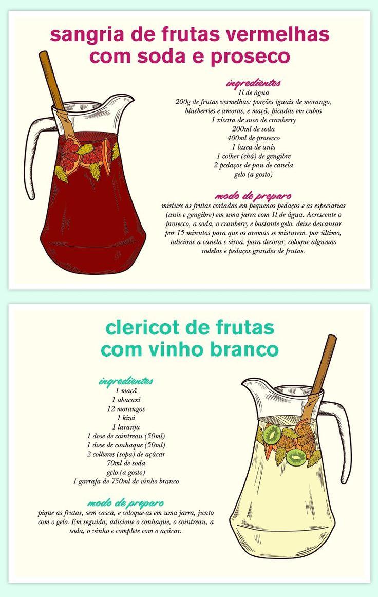 Sangria de frutas vermelhas com soda e prosecco Clericot de frutas com vinho branco